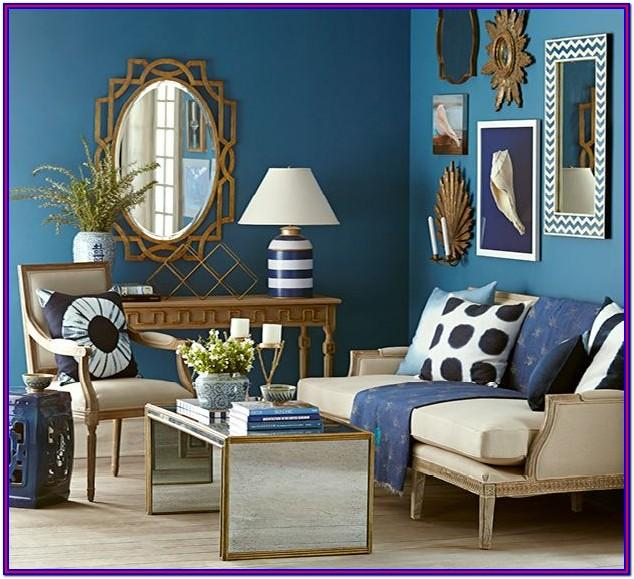 Living Room Blue And Gold Home Decor