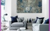Living Room Blue And Grey Decoration 2018