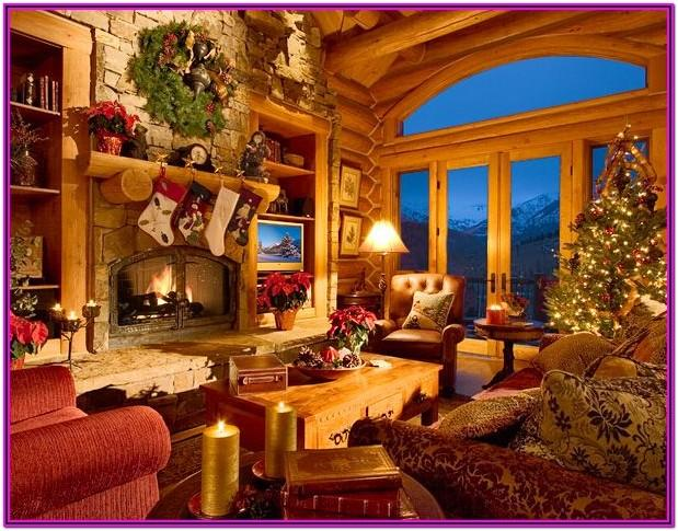 Living Room Christmas Decorations Cabin