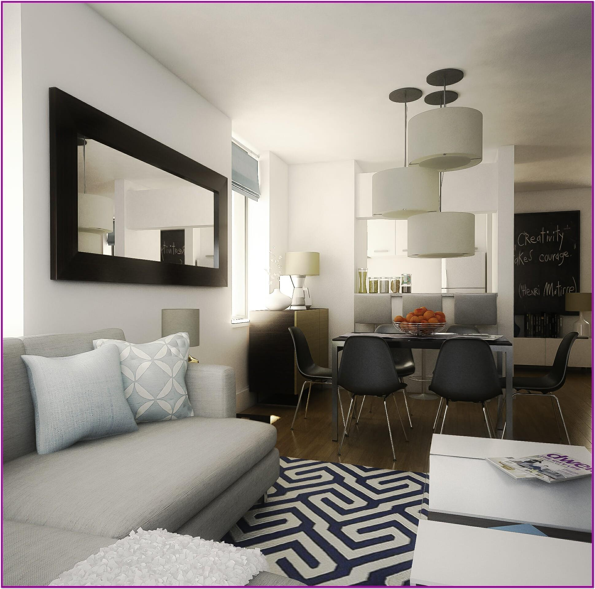 living room combined with dining room decoration
