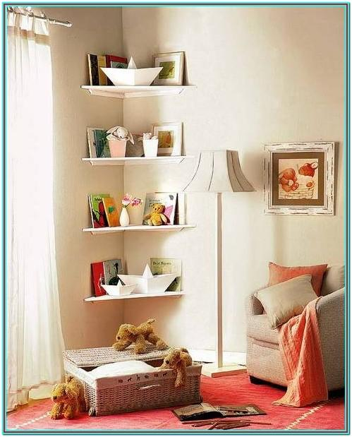 Living Room Corner Shelves Decorating Ideas
