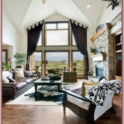 Living Room Decor Angled Windows