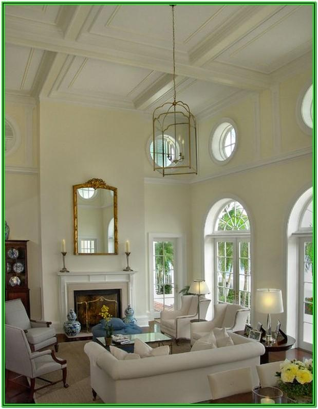 Living Room Decor High White Ceilings