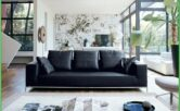 Living Room Decor Idea Black Leather Sofa