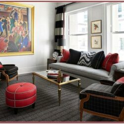 Living Room Decor In Black Red