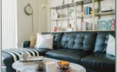 Living Room Decor With Black Leather Couch