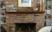 Living Room Decor With Brick Wall Fireplace