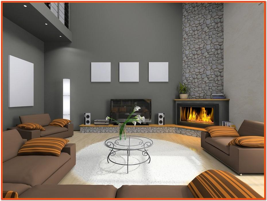 Living Room Decor With Corner Fireplace