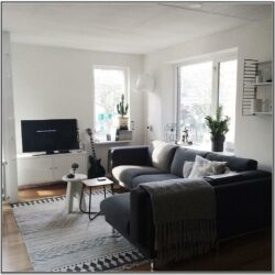 Living Room Decor With Dark Grey Sofa
