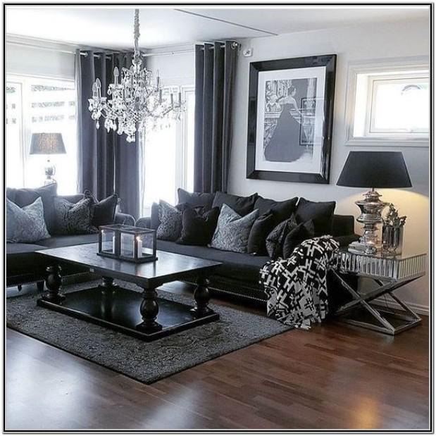 Living Room Decor With Dark Grey Walls