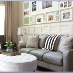 Living Room Decor With Grey Leather Sofa
