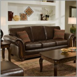 Living Room Decor With Light Leather Sofa