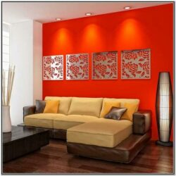 Living Room Decor With Red Accent Wall