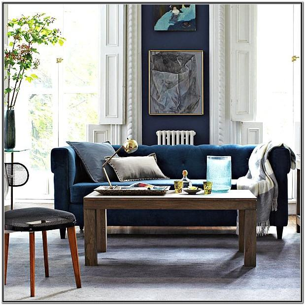 Living Room Decor With Slate Blue Sofa