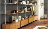 Living Room Decor With Vintage Shelving Units