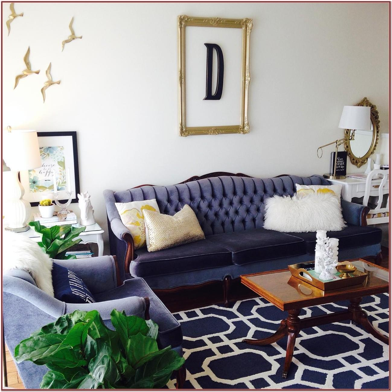 Navy Blue Couch Living Room Decor