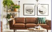 Tan Leather Sofa Living Room Decor
