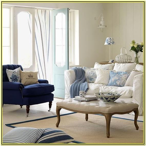 White And Blue Living Room Decor