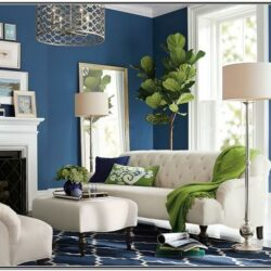 White Green Blue Living Room Decor