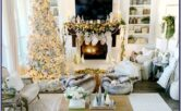 Farmhouse White Christmas Living Room Decor