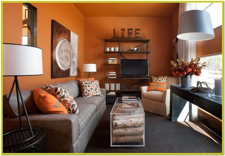 Grey And Burnt Orange Living Room Ideas