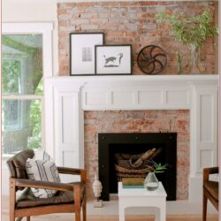 Living Room Brick Fireplace Mantel Decor 1