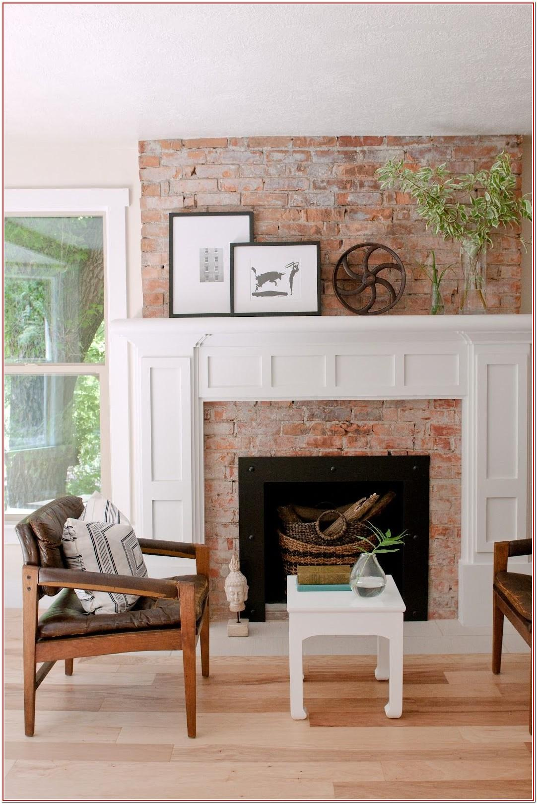 Living Room Brick Fireplace Mantel Decor