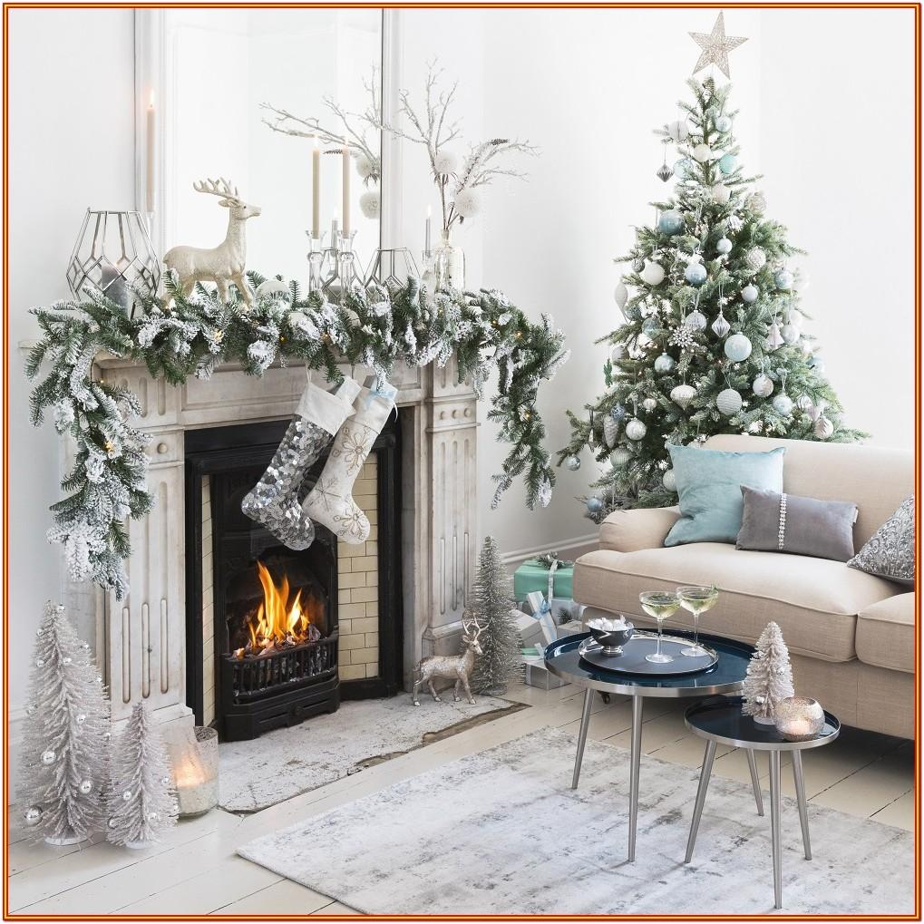 Living Room Christmas Decorations Silver And White