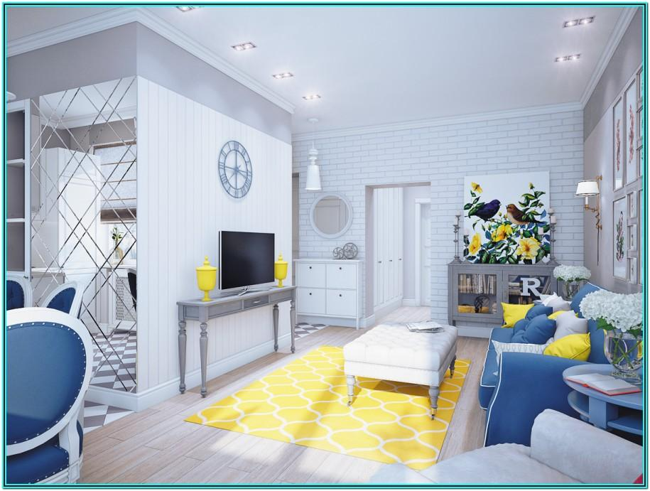 Living Room Decorated Grey Blue Yellow