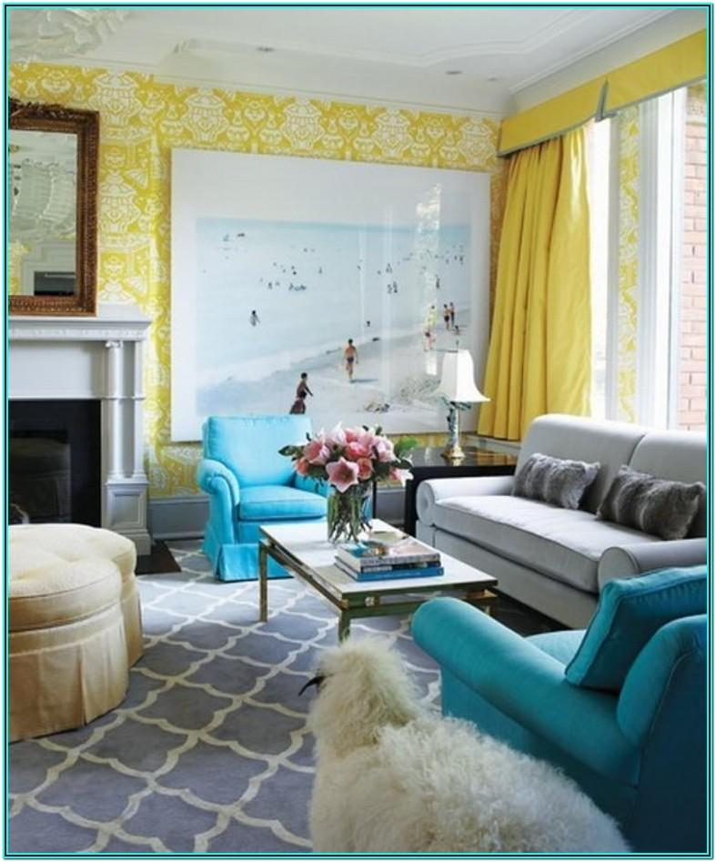 Living Room Decorated Yellow And Blue