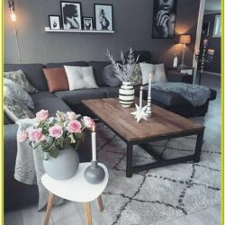 Living Room Decoration With A Grey Sectional