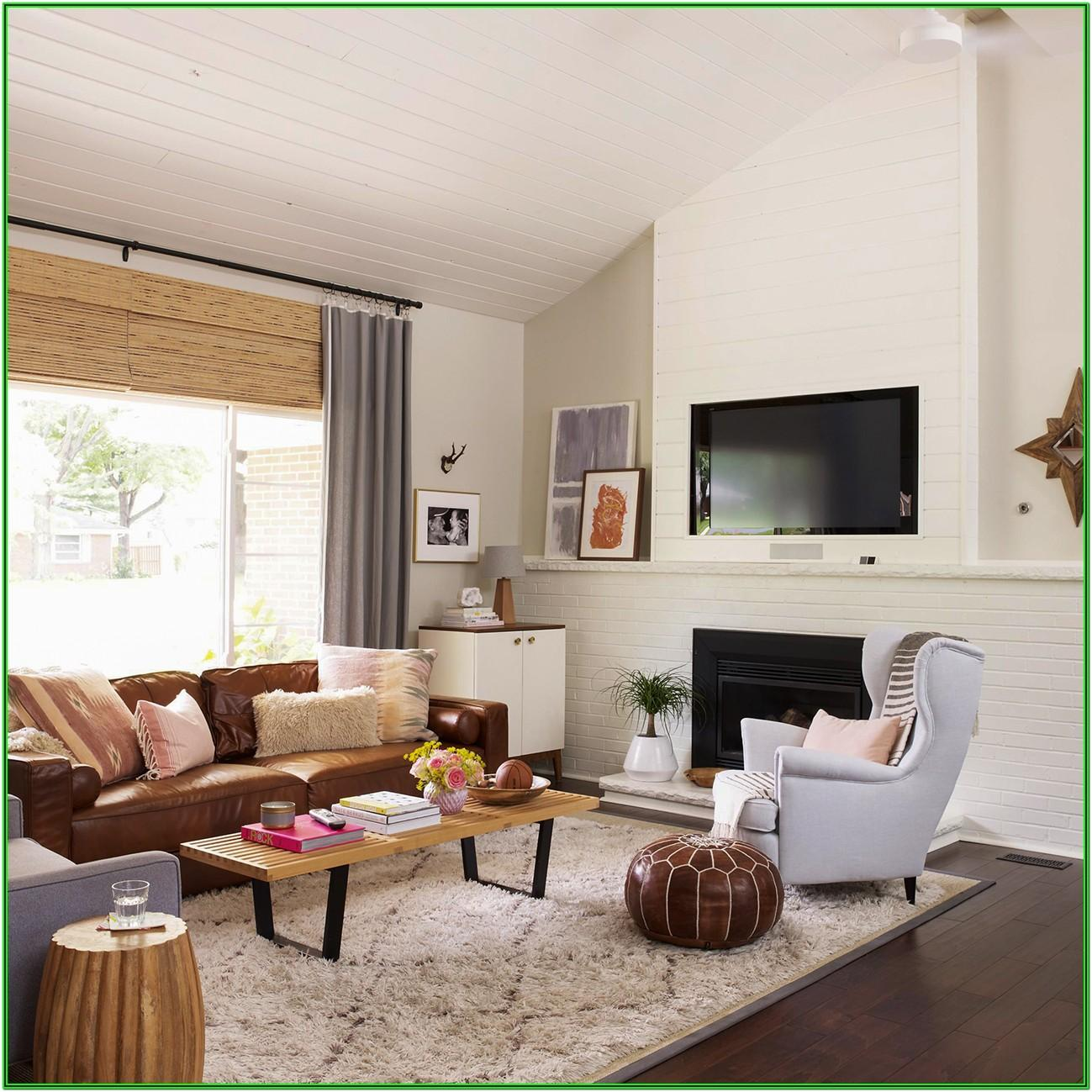 living room decoration with brown sofa
