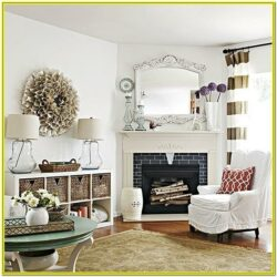 Living Room Decoration With Corner Fireplace