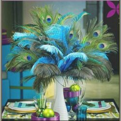 Living Room Feather And Vase Decor