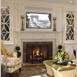 Living Room Fireplace Mantel Decor With Tv 1