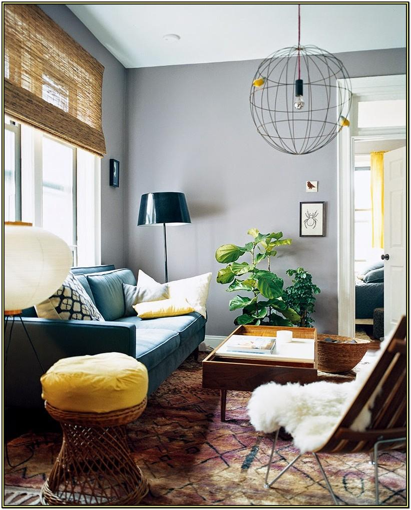 Living Room Gray Walls Blue Decor