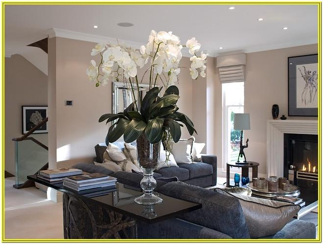 living room home decoration with artificial flowers