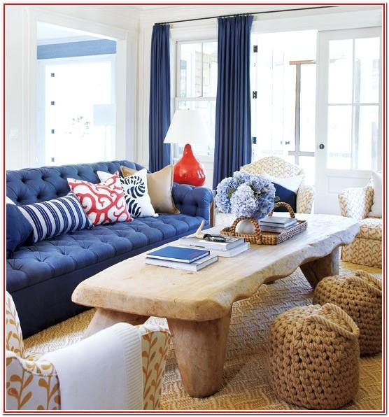 Living Room Navy Coral White Tan Decor