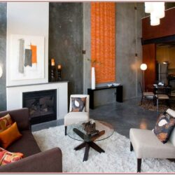 Living Room Orange Wall Decor