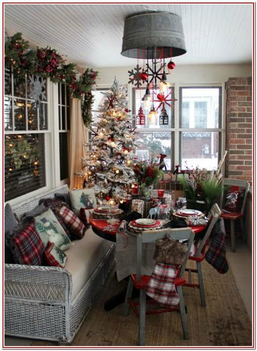 Living Room Rustic Christmas Decorations Ideas