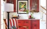 Match Living Room Decor To Red Cabinets