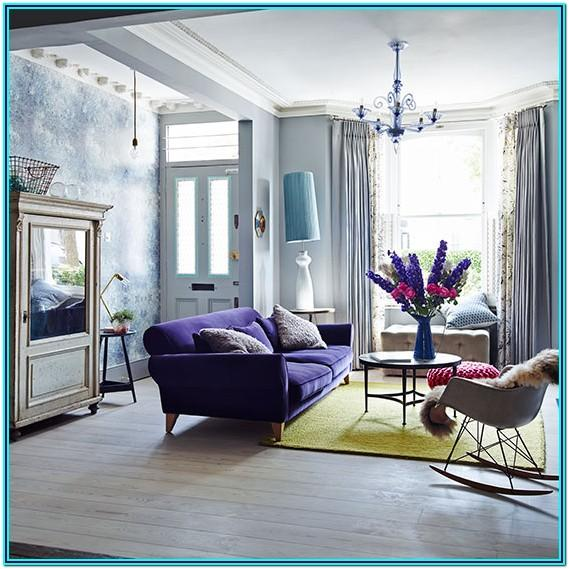 purple velvet couch living room decor