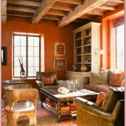 Rustic Orange Living Room With Tree Decorating