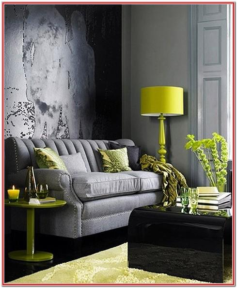 Silver Gray And Lime Living Room Decor