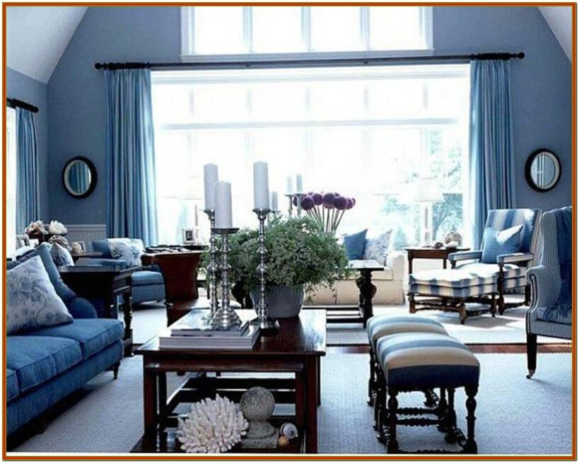 small living room black and blue decor