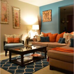 Teal And Orange Living Room Decor Ideas Scaled