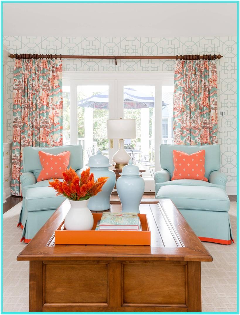 Turquoise And Coral Living Room Decor