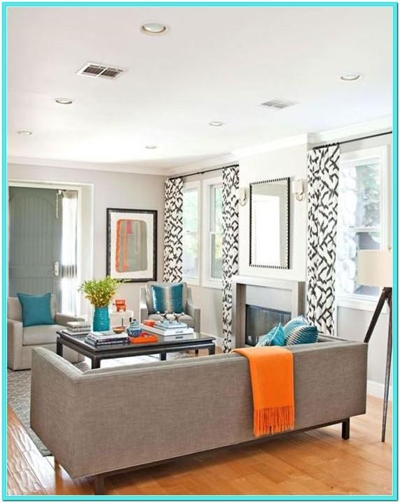 Turquoise And Orange Decorations For Living Room