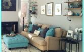 Turquoise Couch Living Room Decorations Tan