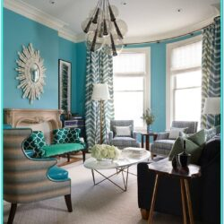 Ultra White Living Room With Aqua Decor